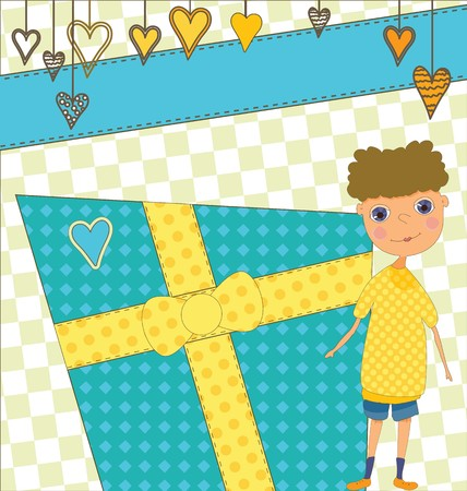 A Birthday card with a boy and a present.