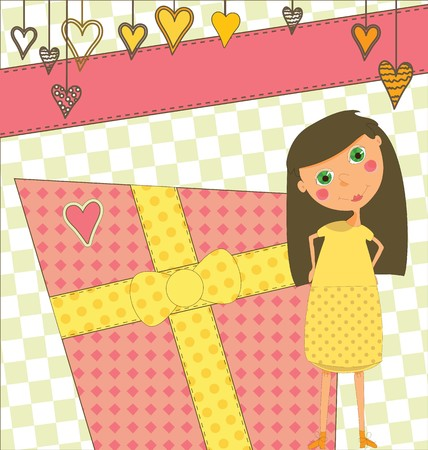 happy birthday text: A sweet birthday greeting with a young girl Illustration