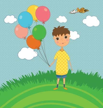 A cute kids party card with a boy holding balloons