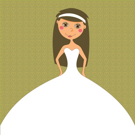A bride in white gown on a wedding invitation.