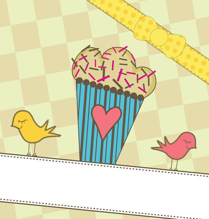 A sweet illustration of a cupcake
