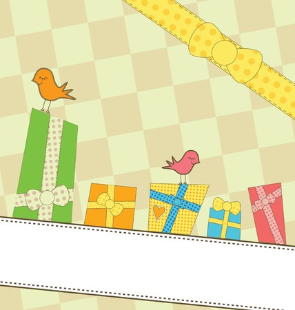 best wishes: Congratulatory card with birds and gifts Illustration