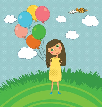 A cute kids party card with a girl holding balloons Illustration