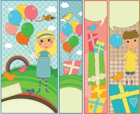 marcadores de libros: Conjunto de cuatro banners verticales con tema de cumplea�os de ni�os
