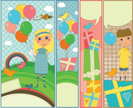 Set of four vertical banners with kids birthday theme