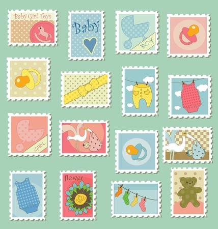 Sweet baby themed postage stamps for baby shower cards Stock Vector - 7417912