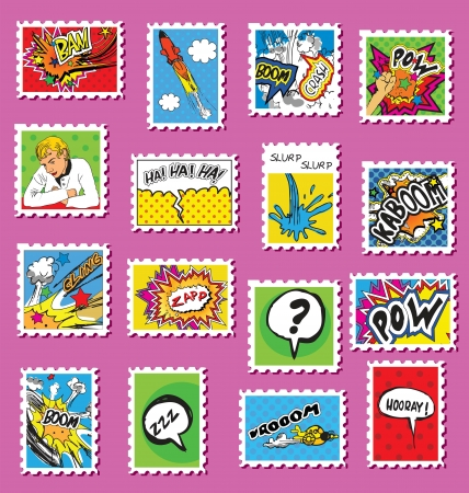 Pop art styled post stamps with a retro feeling.