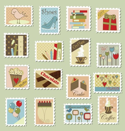 pastries: Various postage stamps with different subjects