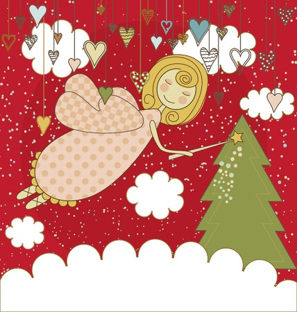 A cute flying christmas fairy with a wand Stock Photo - 7723132