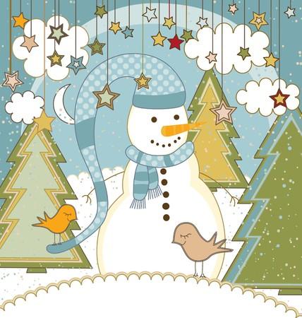 A cute Christmas card with a snowman