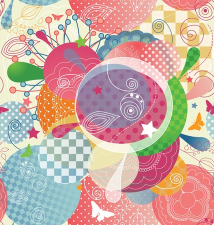 A seamless pattern with abstract and colorful shapes.