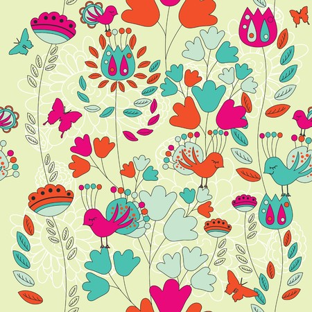 A seamless pattern with flowers, butterflies and birds.