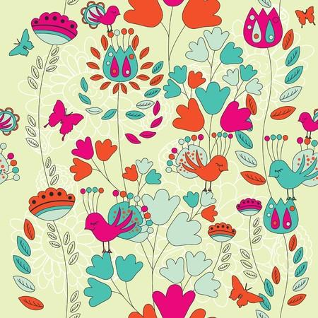 Un patrón transparente con flores, mariposas y aves.  Ilustración de vector