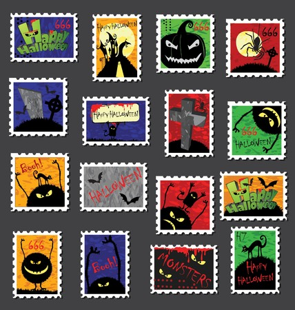 Many different postage stamps, stickers or labels with halloween theme.