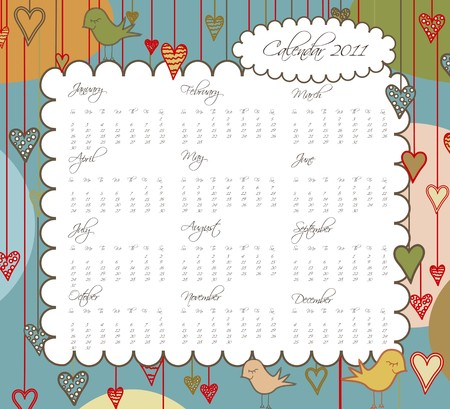A sweet calendar with birds and hearts for the year 2011.