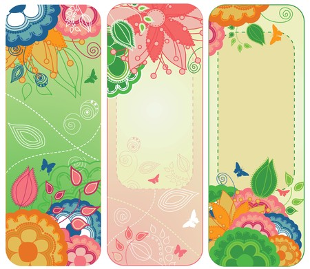A set of three floral and colorful bookmarks Illustration