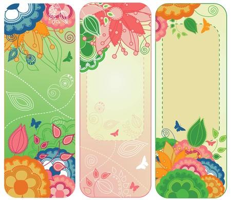 Een set van drie bloemen en kleurrijke bladwijzers Vector Illustratie