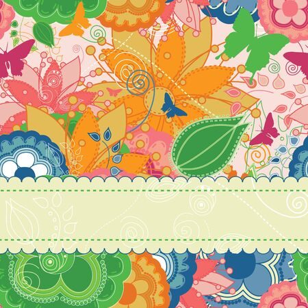 Elegant floral invitation or greeting card. Illustration