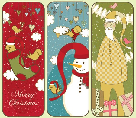 Three Christmas Banners with a snowman, santa and birds. Illustration