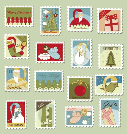 Many different Christmas stamps