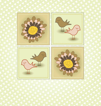 Spring Greeting with Birds and Flowers Stock Vector - 8609881