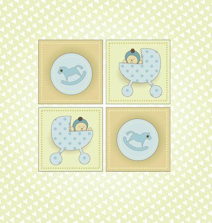 Sweet Welcome Baby Boy Card Stock Vector - 8609883