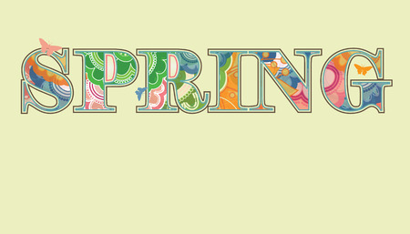 Decorative Spring Text with Transparency and Rainbow Colors Stock Vector - 8609892