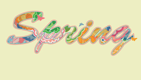 Decorative Spring Text with Transparency and Rainbow Colors