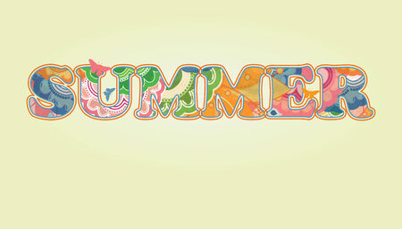Decorative Summer Text with Transparency and Rainbow Colors  Stock Vector - 8609896