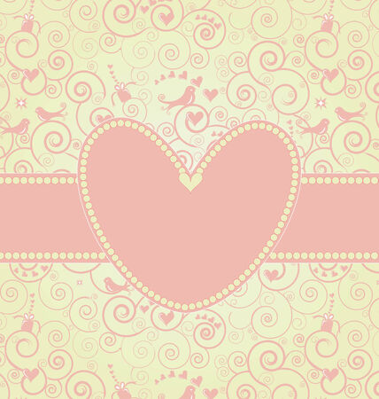 Sweet Valentine's Day Card in Pink Stock Vector - 8609886