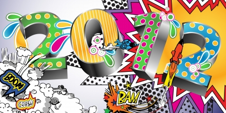 new year s eve: 2012 in a Colorful Comic Book Style Illustration