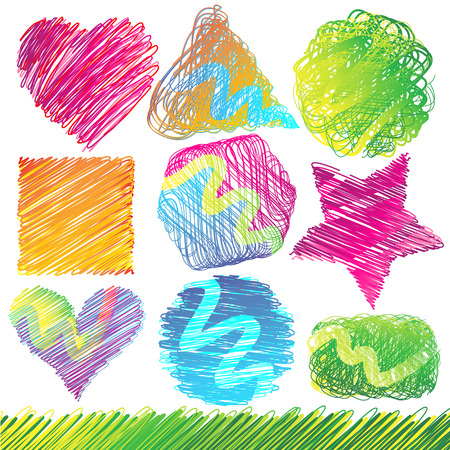 green heart: Set of Colorful Doodled Shapes