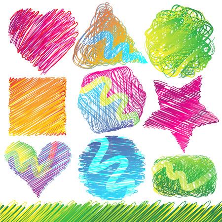 Set van kleurrijke Doodled vormen Stock Illustratie