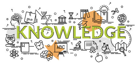 Flat colorful design concept of Knowledge. Infographic idea of ??making creative products.Template for website banner, flyer and poster.