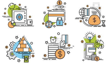 Ensemble d'icônes de contour de paiement. Icônes colorées pour site Web, mobile, conception de l'application et impression.