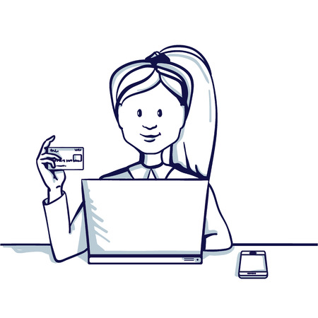 Young business woman sitting at the table, next to her laptop and phone, with a credit card, it seems like shopping online in hand drawn doodle cartoon vector illustration.
