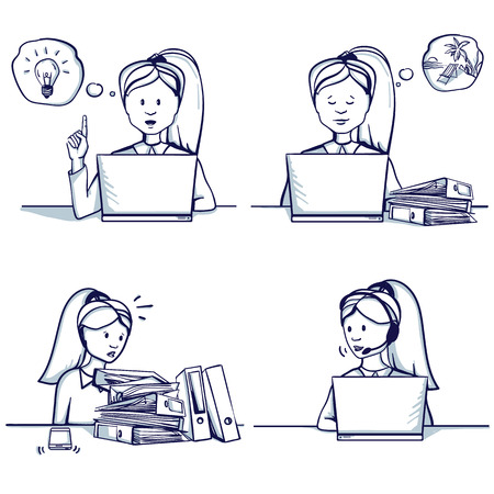 Set of business woman cartoon illustration. Sitting scenes: customer support service, had an idea, she is busy, doesnt have time to work, dreams of a vacation. Hand drawn doodle vector illustration.