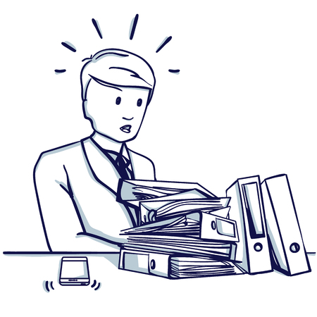 Young business man sitting at the table before a large number of folders, he is busy, does not have time to do the work. Hand drawn doodle cartoon vector illustration.