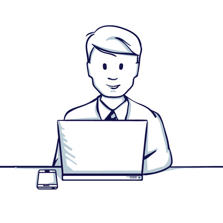 Young business man sitting at the table, next to his laptop and phone. With a credit card, it seems like shopping online. Hand drawn doodle cartoon vector illustration.