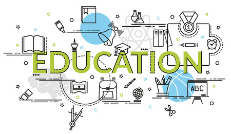 Flat colorful design concept for Education. Infographic idea of making creative products.Template for website banner, flyer and poster.