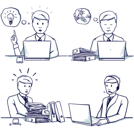 Set of business man cartoon illustration. Sitting scenes: customer support service, had an idea, he is busy, doesn't have time to work, dreams of a vacation.