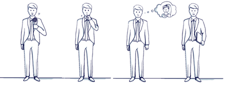 Set of business man cartoon illustration. Stands scenes: He is happy, remembers the woman, coughs, fell ill, holds a folder, with a microphone, sings or speaks.