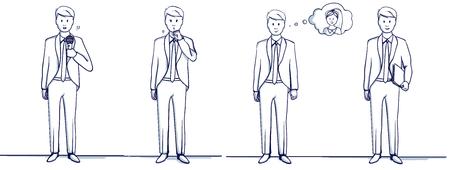 Set van zakenman cartoon afbeelding. Staat scènes: hij is gelukkig, herinnert zich de vrouw, hoest, werd ziek, heeft een map, met een microfoon, zingt of spreekt. Stockfoto - 93594864