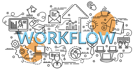 Flat colorful design concept for Workflow. Info graphic idea of making creative products. Template for website banner, flyer and poster.