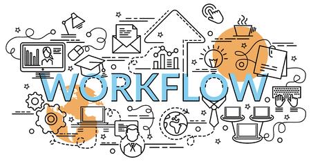 Conceito de design liso colorido para fluxo de trabalho. Ideia gráfica da informação de fazer produtos criativos. Modelo de banner do site, flyer e cartaz.