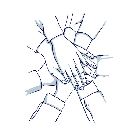 Stack of business hands. Team together. Hand drawn doodle cartoon vector illustration.