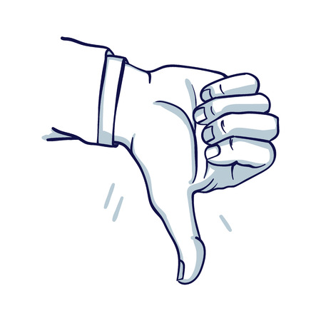 A mans hand shows a thumbs down. Failure, do not like. Hand drawn doodle cartoon vector illustration.  Illustration