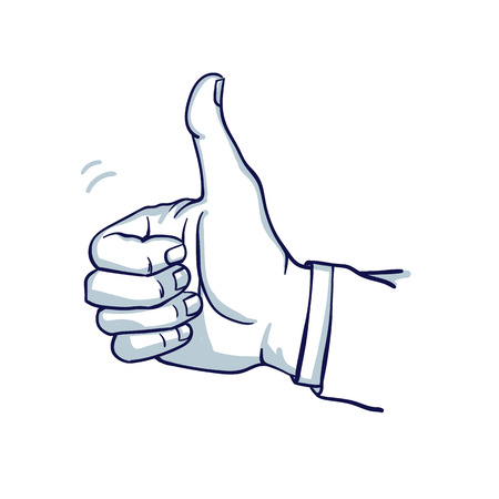A mans hand shows a thumbs-up. Well done. Success. Hand drawn doodle cartoon vector illustration.