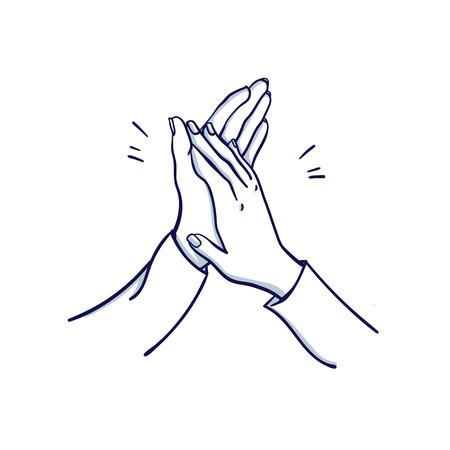 Aplausos de la mujer. Las manos de dos mujeres aplauden. Dibujado a mano doodle ilustración de vector de dibujos animados.