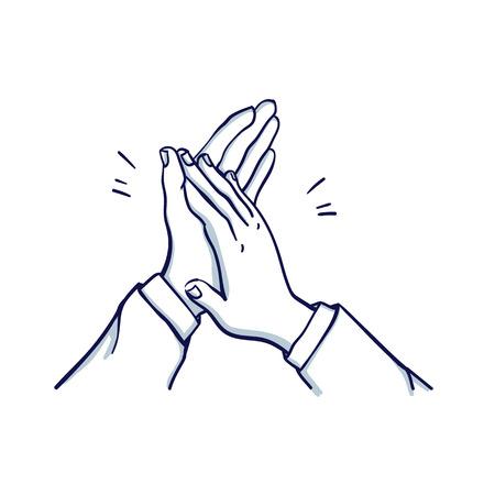 Los aplausos del hombre. Las manos de dos hombres aplauden. Dibujado a mano doodle ilustración de vector de dibujos animados.